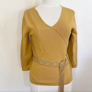 CABLE & GAUGE retro crossover belted knit top M